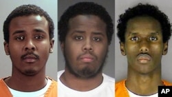 Combo photo of Somali-Americans: (L to R) Abdirahman Daud, Mohamed Farah and Guled Omar, who are accused of allegedly planning to join Islamic State in Syria.