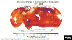 Ortalama sıcaklıkta gözlenen değişim, 1901 - 2012
