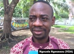 Mermans Babounga, président de l'Association de défense des droits des consommateurs du Congo, à Brazzaville, le 14 avril 2017. (VOA/Ngouela Ngoussou)