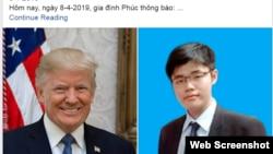 Bà Huỳnh Thị Út thông báo trên Facebook hôm 8/4/2019 về bức thư gửi TT Donald Trump. Photo Facebook Huynh Nghia.