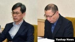 지난 3월 북한 인민문화궁전에서 억류된 한국인 김국기 씨(왼쪽)와 최춘길 씨가 기자회견을 하고 있다.