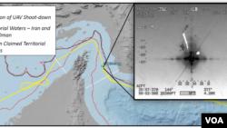 資料圖片:美國無人機擊落地點圖解: 黃線:無人機被擊落位置;紅線:伊朗、阿聯酋/阿曼水域;黑線:伊朗聲稱的水域