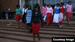 Some of Gumbura's wives outside the magistrates courts in Harare.