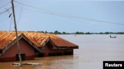 Lụt tại thành phố Lokoja bang Kogi, Nigeria (ảnh chụp ngày 17/9/2018)