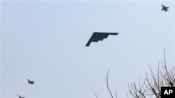 US B-2 stealth bomber flies south of Seoul, South Korea, March 28, 2013
