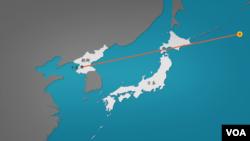 示意图: 朝鲜进行飞越日本上空的导弹试验