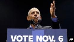 Ông Obama vận động cử tri ở tiểu bang Indiana hôm 4/11.
