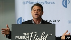 Planetary Resources Inc. co-founder and co-chairman Peter Diamandis speaks at a news conference in Seattle, April 24, 2012.