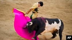 Matador Victor Barrio saat tampil dalam festival San Isidro di stadion adu banteng Las Ventas di Madrid, Spanyol (foto: dok). Barrio tewas akibat ditanduk banteng, Sabtu 9/7.