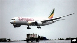 A Dreamliner Boeing 787 lands at Bole International airport in Addis Ababa, Ethiopia