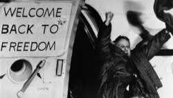 Freed U.S. hostage David Roeder arriving at the Rhein-Main air base in Frankfurt, Germany, on January 21, 1981. He was among 52 Americans held hostage in Iran for 444 days.