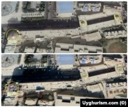 """Xo'tan Iydgoh masjidi minoralarining """"Google"""" xaritasida buzilishdan avvalgi va keyingi ko'rinishi"""