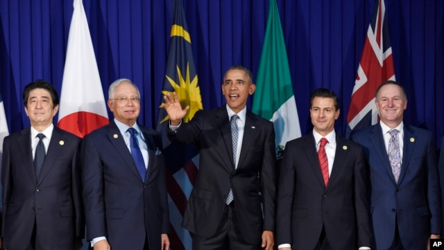 FILE - President Barack Obama (c) and other leaders of the Trans-Pacific Partnership countries pose for a photo in Manila, Philippines, Nov. 18, 2015.