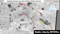 美國衛星圖像顯示,從俄羅斯發射出來的火箭射到了烏克蘭境內。