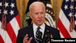 Tồng thống Joe Biden họp báo tại Tòa Bạch Ốc ngày 25/3/2021.