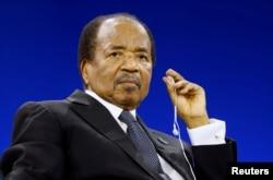 FILE - Cameroon President Paul Biya attends the Paris Peace Forum, France, Nov. 12, 2019.