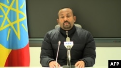This frame grab from a video obtained from the Ethiopian Public Broadcaster on Nov. 4, 2020, shows Prime Minister Abiy Ahmed saying he was ordering a military response to an attack by the ruling party of Tigray on a federal camp.
