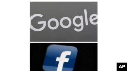 FILE - This combination of file photos shows a Google sign and the Facebook app.