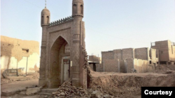 A demolished mosque is seen in Kashgar city, in China's northwest Xinjiang province. (Photo courtesy of Bahram Sintash)