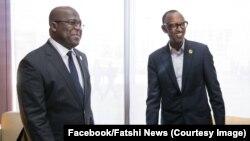 Félix Tshisekedi, président ya RDC (na loboko ya mwasi) na mokokani wa ye ya Rwanda Paul Kagame, na Addis Abeba, Ethiopie, 11 février 2019. (Facebook/Fatshi News)