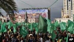 Pristalice Hamasa na današnjem mitingu u gradu Gazi