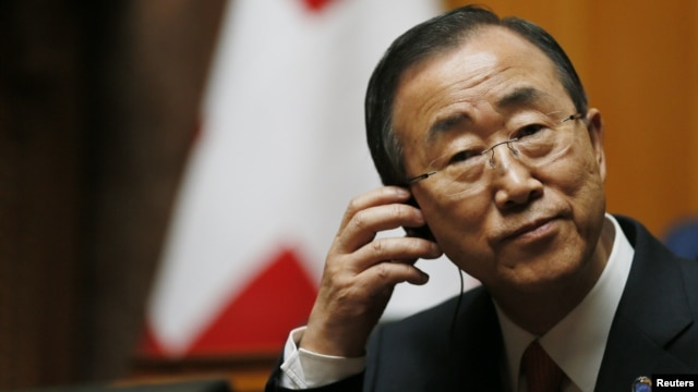 UN Secretary-General Ban Ki-moon listens to a speech in the Swiss National Council during his visit in the Autumn Parliament Session in Bern, September 11, 2012.