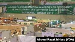 Vue sur les stands du Sahel-Niger 2017 à Niamey, Niger, le 4 mars 2017. (VOA/Abdoul-Razak Idrissa)