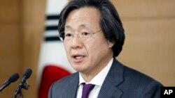 Giám đốc Trung tâm Kiểm soát Dịch bệnh Hàn Quốc Jung Ki-Suck phát biểu tại cuộc họp báo ở Seoul, ngày 22/3/2016.