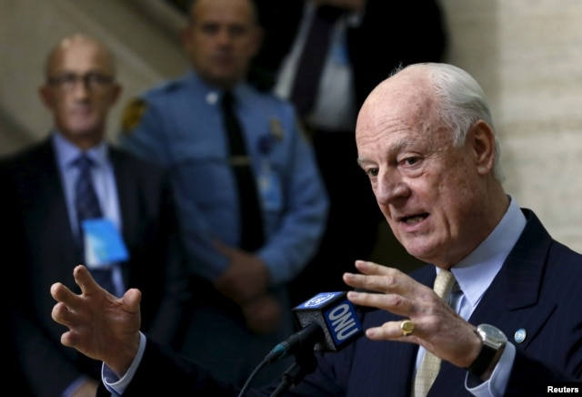FILE - U.N. mediator for Syria Staffan de Mistura gestures during a news conference after a meeting with the Syrian High Negotiations Committee (HNC) during the peace talks at the United Nations in Geneva, Switzerland, Feb. 1, 2016.
