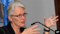 FILE - Margareta Wahlstrom, special representative of the U.N. secretary-general for disaster risk reduction, speaks to reporters in Phnom Penh, Cambodia, April 25, 2012.