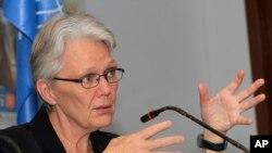 Margareta Wahlstrom, pejabat tinggi PBB urusan pengurangan risiko bencana, pada suatu acara di Phnom Penh, Kamboja.