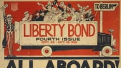 "A poster for selling liberty bonds shows Uncle Sam with a truck full of citizens holding bonds under a sign saying ""To Berlin"""