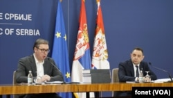 Predsednik Srbije i ministar policije na konferenciji za novinare posle sednice Saveta za nacionalnu bezbednost