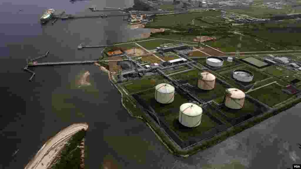A view of the Nigeria Liquified Natural Gas company (NLNG) during an aerial tour by Royal Dutch Shell, in Bonny.