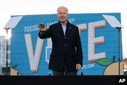 조 바이든 미국 대통령 당선인이 4일 조지아주 애틀랜타에서 민주당 상원 후보 지지 연설을 했다.