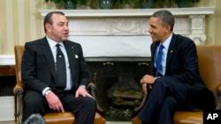 Le roi Mohammed VI (à g.) et le président Barack Obama dans le bureau oval de la Maison-Blanche