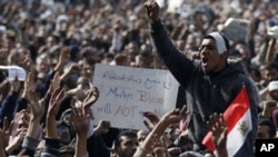 Manifestants demandant le départ d'Hosni Moubarak