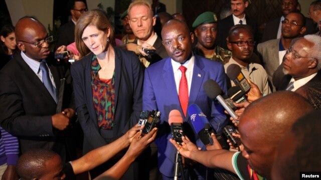 FILE - Samantha Power, the United States' U.N. ambassador, and Burundian President Pierre Nkurunziza speak to reporters in Gitega, Burundi, Jan. 22, 2016.