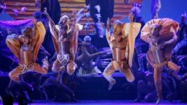 "Dancers from ""The Lion King"" perform during the opening number at the 62nd Annual Tony Awards in New York, June 15, 2008."