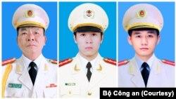 Ba công an tử vong tại Đồng Tâm gồm (từ trái sang phải) Đại tá Nguyễn Huy Thịnh, Đại uý Phạm Công Huy, Thượng uý Dương Đức Hoàng Quân.
