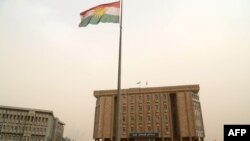 The parliament building of Iraq's Kurdistan region is seen in Irbil, northern Iraq, Oct. 29, 2017. Angry Kurds stormed the building Sunday after Iraqi Kurdish leader Masoud Barzani announced he was stepping down as president of the self-ruled region.