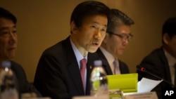 윤병세 한국 외교장관이 지난 18일 뉴욕에서 열린 미·한·일 외교장관 회담에서 발언하고 있다. (자료사진)