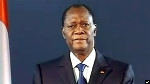 Alassane Ouattara announcing late on April 7, 2011 a blockade around his rival Laurent Gbagbo's residence and calling on his troops to restore order in Abidjan
