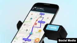 Imagen de un teléfono con la aplicación de navegación Waze. Foto de archivo.
