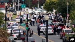3일 미국 워싱턴 의사당 주변에서 총격이 벌어진 가운데, 경찰들이 출동해 있다.