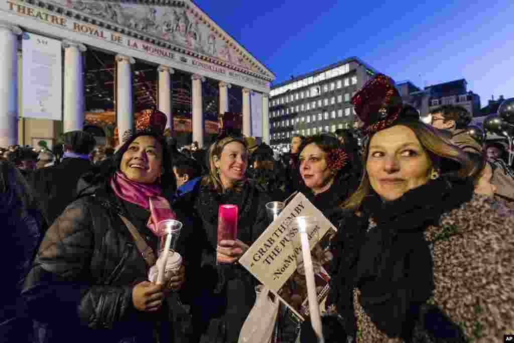 Протесты в Брюсселе после инаугурации Дональда Трампа. 21 января 2017