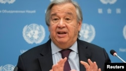 FILE - United Nations Secretary-General Antonio Guterres speaks during a news conference at U.N. headquarters in New York City, New York, U.S., Nov. 20, 2020.