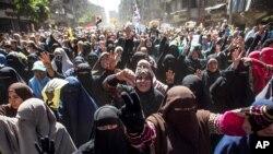 Những người ủng hộ cho tổng thống Ai Cập bị lật đổ Mohamed Morsi, Cairo, 28/3/2014.