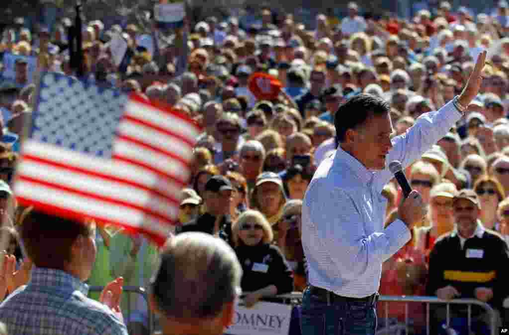 1月30号,共和党总统参选人罗姆尼在佛罗里达州达尼丁市竞选集会上讲话。(Reuters)