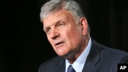 FILE - The Rev. Franklin Graham speaks during an interview in New York, May 1, 2018.